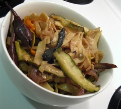 Balsamic Roasted Vegetables with Fresh Fettuccine