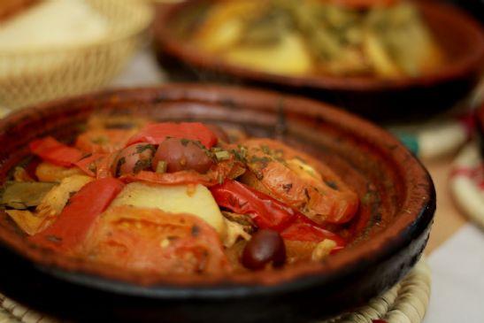 Moroccan fish tagine recipe sparkrecipes for Moroccan fish recipe
