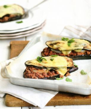 Mozzarella-topped Eggplant & Beef Stacks