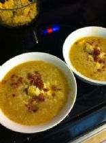Summer squash soup with potato and bacon