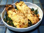 Macadamia crusted Fish with coconut spinach