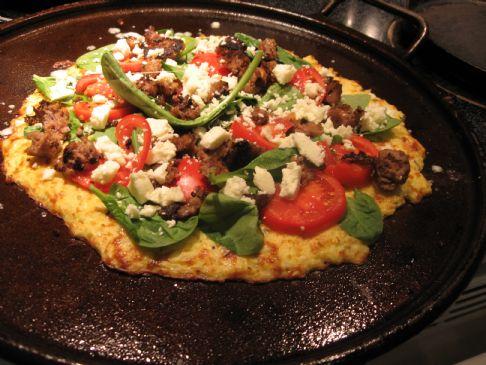 Cauliflower Pizza Crust a la Mediterranean