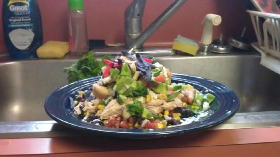 Southwest Chicken with an alvocado salad