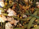 Roasted Cauli, Corn, Snap Peas, Green Beans