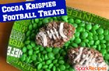 Chocolate Peanut Butter Footballs (Cocoa Rice Krispie Treats)