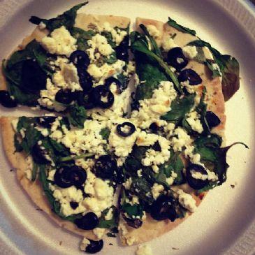 Spinach Feta Pita Pizza