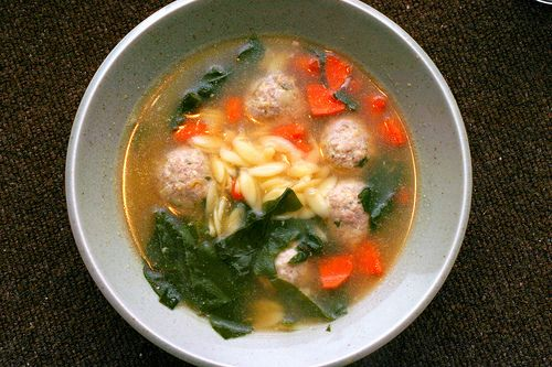Escarole and Orzo Soup with Meatballs