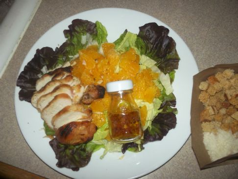 Salad with Chicken, Orange, Wheat Croutons, Parmesan & Cinaigrette