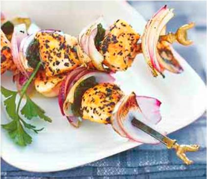 Grilled Chicken, Red Onion and Mint Kebabs