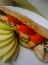 Chicken and Feta Whole Wheat Pita with Roasted Red Pepper, Eggplant, Fresh Mint, Tomato, and Cucumber