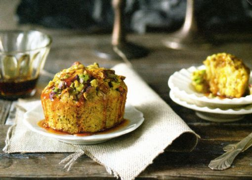 Coconut & Pistachio Friands with Coffee Syrup
