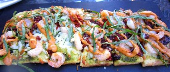 Pesto Shrimp Flatbread