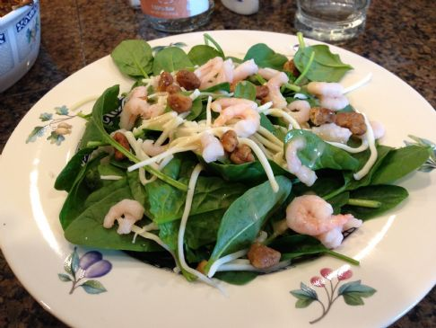 Baby spinach, shrimp, mozzarella salad