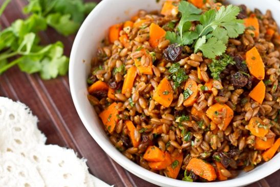 Carrot Raisin Spelt Berry Salad with Cumin and Cilantro Recipe ...