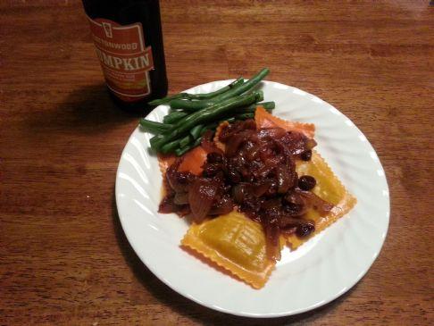 Carmelized Onions, Raisins, and Cranberry Sauce (for Pumpkin Ravioli)