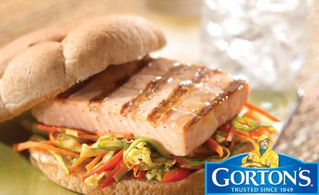 Classic Grilled Salmon Burgers with Sesame Ginger Slaw	from Gorton's�