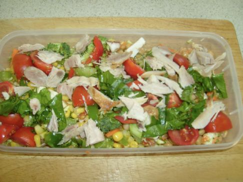 Raw Veggie combination  with Chick peas, Corn and Chicken