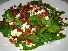 Spinach Salad with Egg and Bacon Garnish