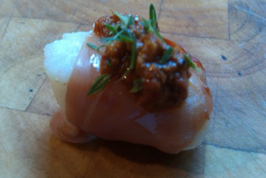 Proscuitto-Wrapped Scallops with Romesco Sauce