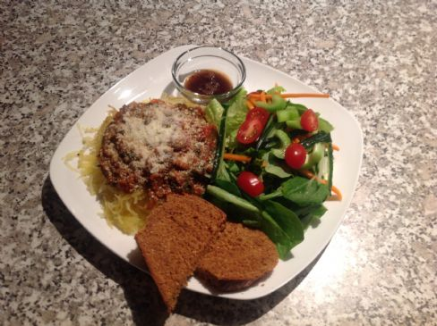 Quinoa Lentil Bolognese over spaghetti squash