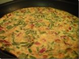 Roasted green bean, turkey bacon and smoked Gouda frittata
