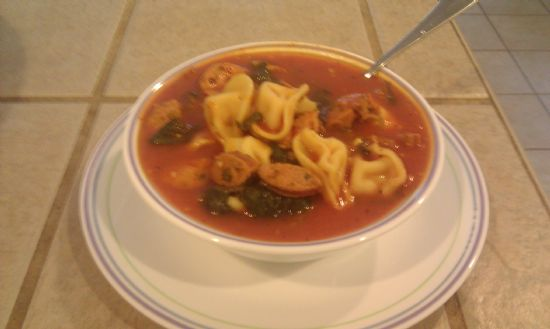Chicken sausage and cheese tortellini soup