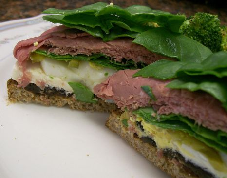 Roast Beef Whole grain Open Sandwich with Spinach, Egg, Fresh Mozzarella & Prunes