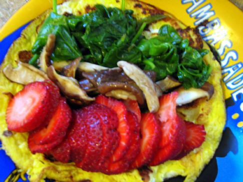 Shiitake Mushroom, Spinach and Strawberry Omelet