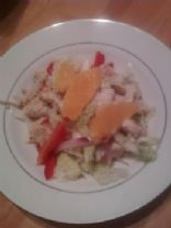 Orange Cabbage Salad with Chicken