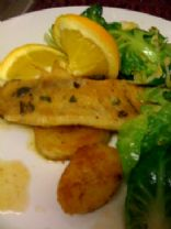 Flounder/Tilapia/Whatever White Fish Fillets you have around with simple pan-seared Potatoes in an Orange and Mint Butter Sauce