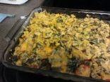 Tomato Casserole with Spinach, Pesto, Ground Chicken Breast, & Mushrooms