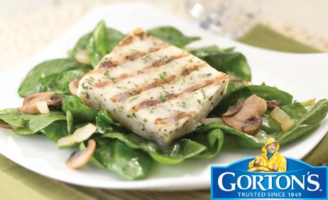Grilled Fillets on a Bed of Mushrooms and Spinach from Gorton's�
