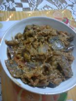 Salt Fish and Eggplant Fricasse