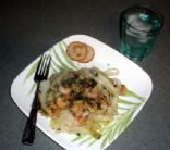 SHRIMP SCAMPI WITH PESTO AND CABBAGE NOODLES