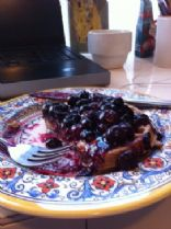almond butter waffles with blueberry compote