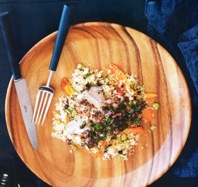 Chargrilled chicken w lemon couscour & black olive salsa