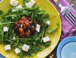 arugula + mozzarella salad with eggplant caponata