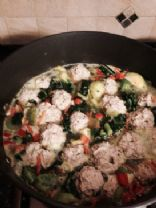 Turkey meatballs and kale healthy winter soup