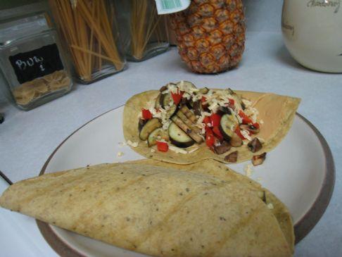 Eggplant, Hummus, & Smoked Gouda Tacos