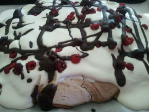 Chocolate Pavlova with Fresh Raspberries