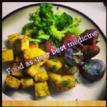 Turmeric Tofu with medley potatoes and broccoli