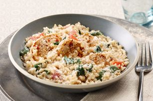 Creamy rice, chicken and spinach dinner