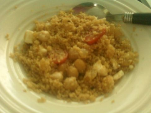 Garlic and Olive Oil Couscous w/Garbanzos and Tomatoes