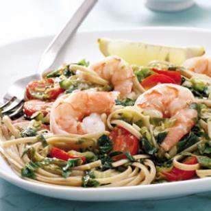 Linguine with Escarole and Shrimp