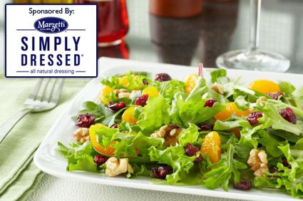 Simply Dressed Mixed Greens with Manchego Cheese and Pomegranate Dressing