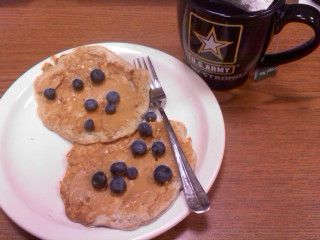 Blueberry Vanilla Protein Pancakes with Peanut Butter