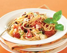 Spaghetti with Roasted Peppers, Plum Tomatoes, Goat Cheese & Basil