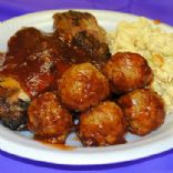 Kicked Up BBQ Cheddar Chicken Meatballs