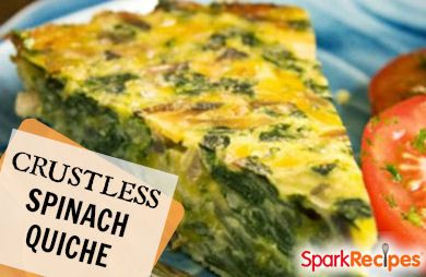 Crustless Spinach, Onion and Feta Quiche Recipe | SparkRecipes
