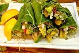 collard green wraps with sunflower seed spread